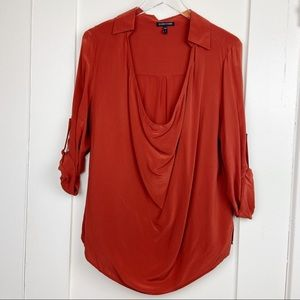 Eileen Fisher 100% Silk Rust Blouse size Small
